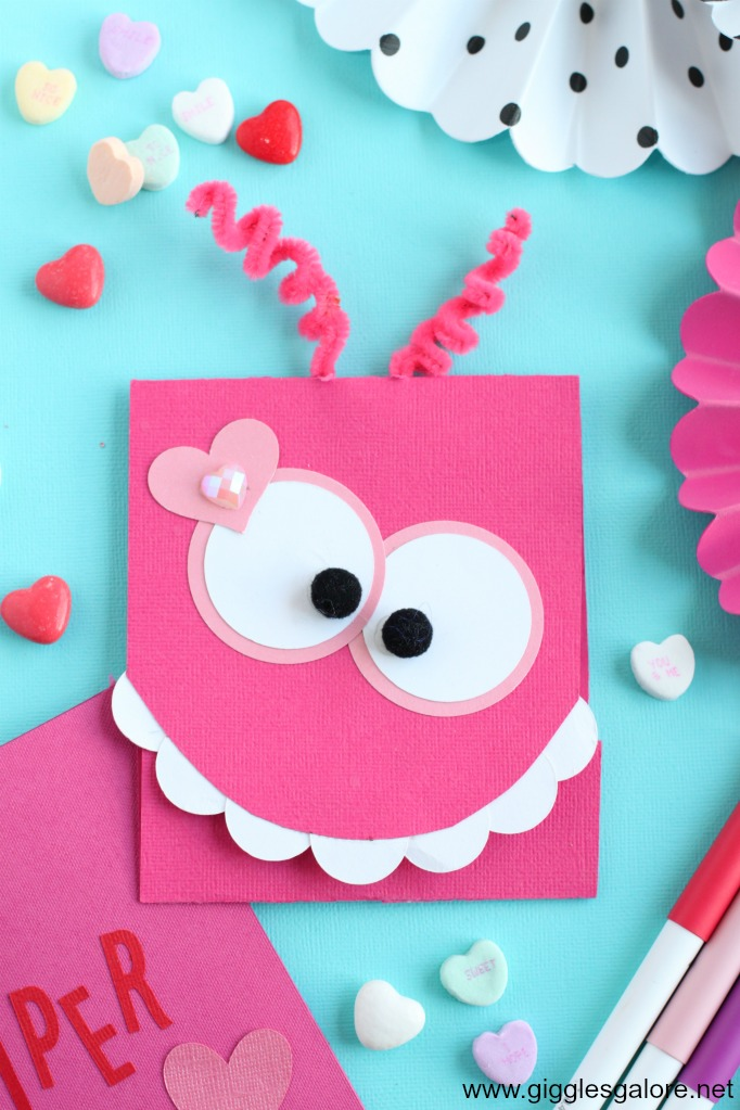 cute diy monster valentine's day card  giggles galore