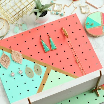 DIY Painted Pegboard Jewelry Organizer