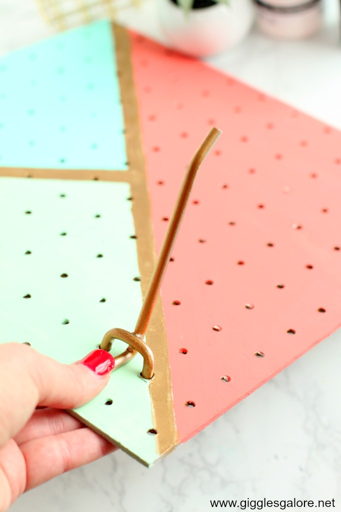 Diy pegboard jewelry organizer step 7