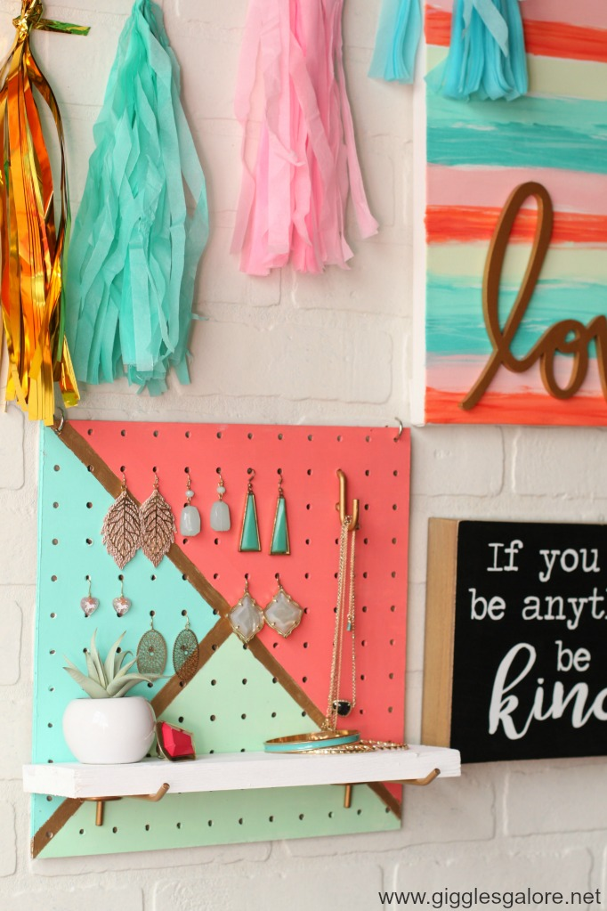 Diy pegboard jewelry organizer with shelf