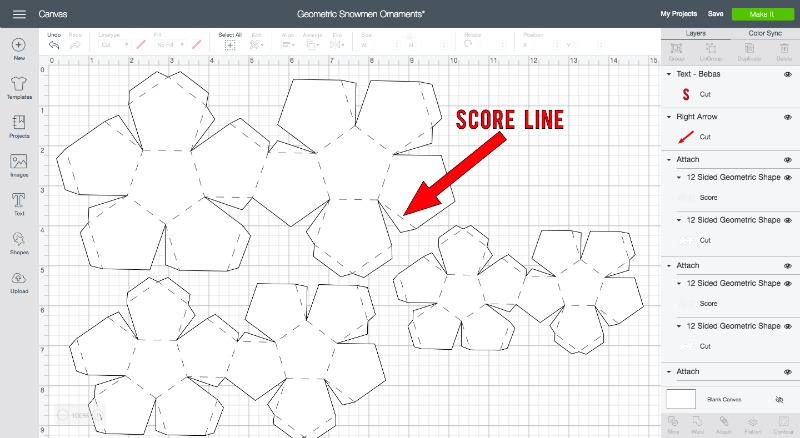 Geometric snowman score line