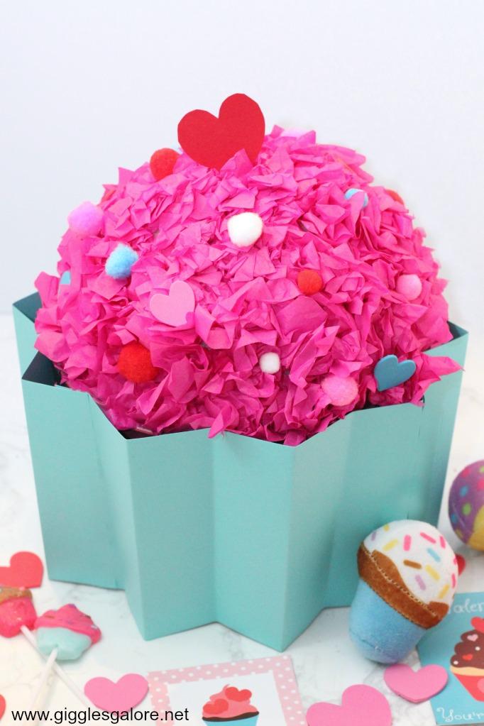 Handmade cupcake valentine box