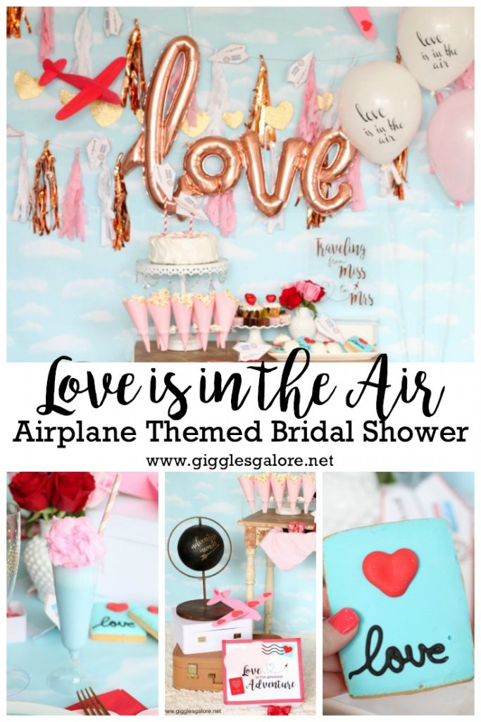 Love is in the air airplane themed bridal shower party ideas