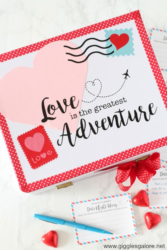 Love is the greatest adventure date night suitcase ideas