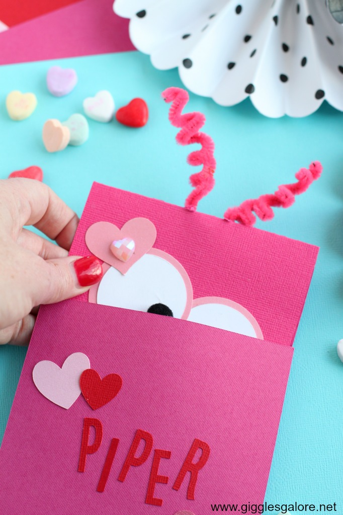 Monster valentine card and envelope