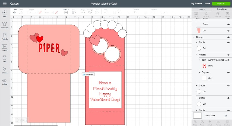 Monster valentine card svg