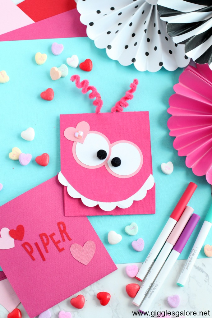 Monster valentine card with cricut maker