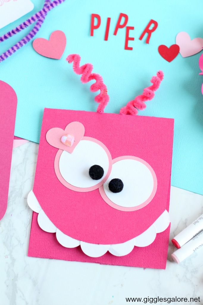Pink diy monster valentine card