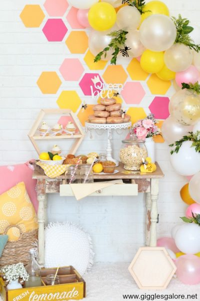 Colorful bee themed party ideas