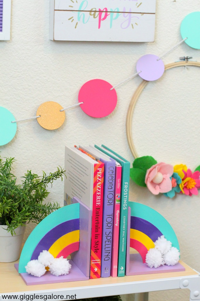Colorful diy rainbow bookends