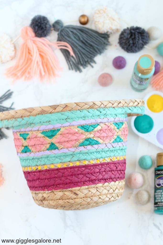 Colorful painted basket design