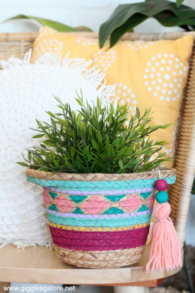 Diy painted basket planter