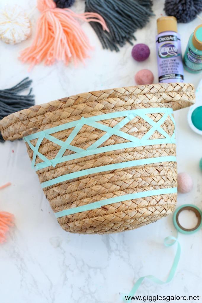 Diy painted basket washi tape