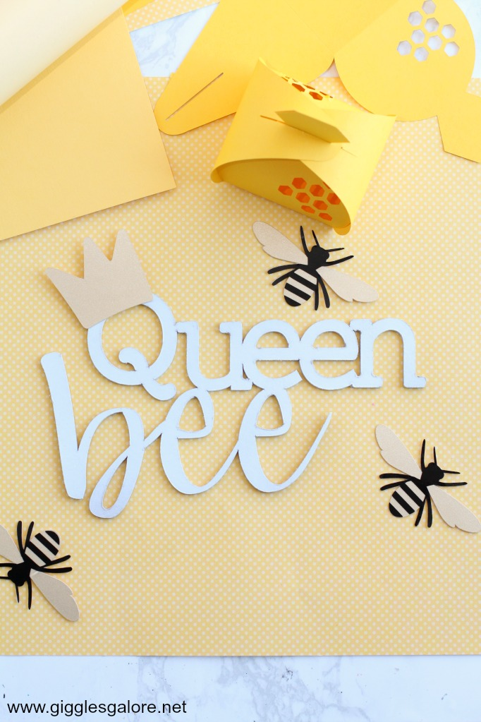 Diy queen bee cricut cake topper