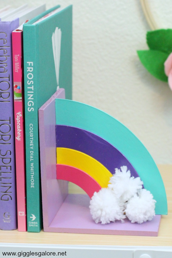 Diy rainbow bookend pom pom clouds