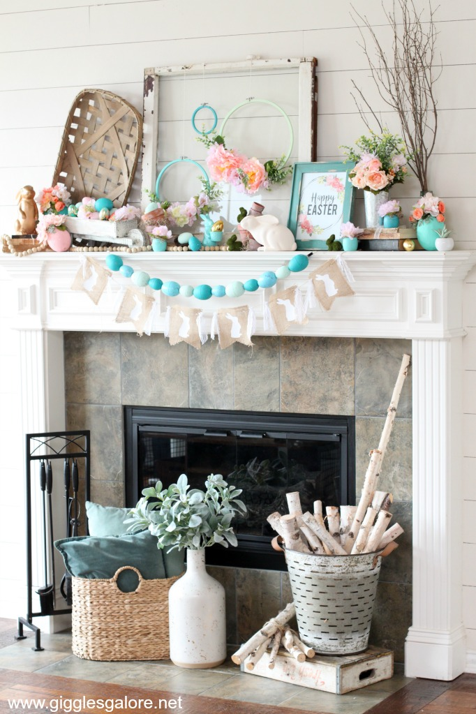 Farmhouse spring mantel decor