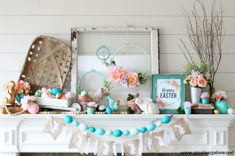 Floral farmhouse easter mantel decor