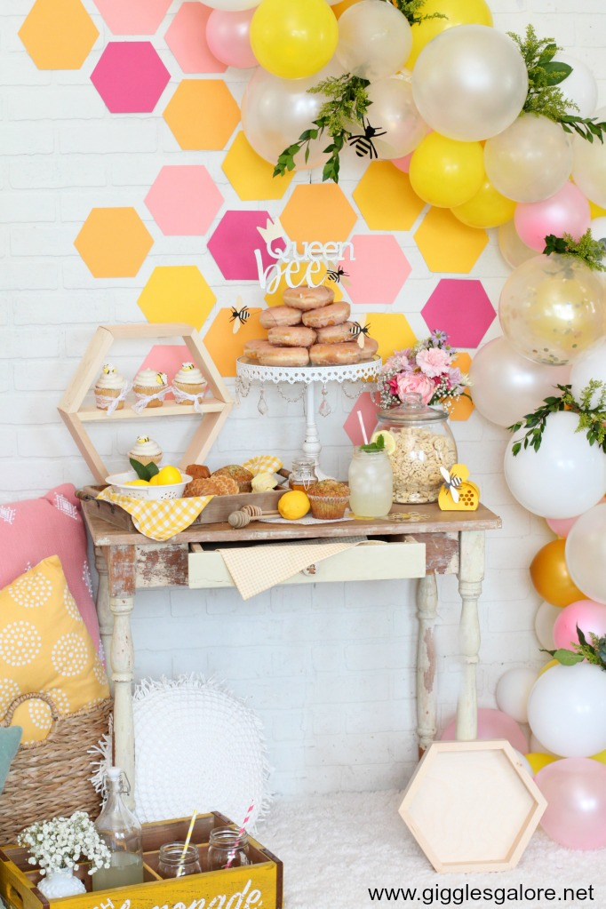 Pink and yellow bee themed party ideas