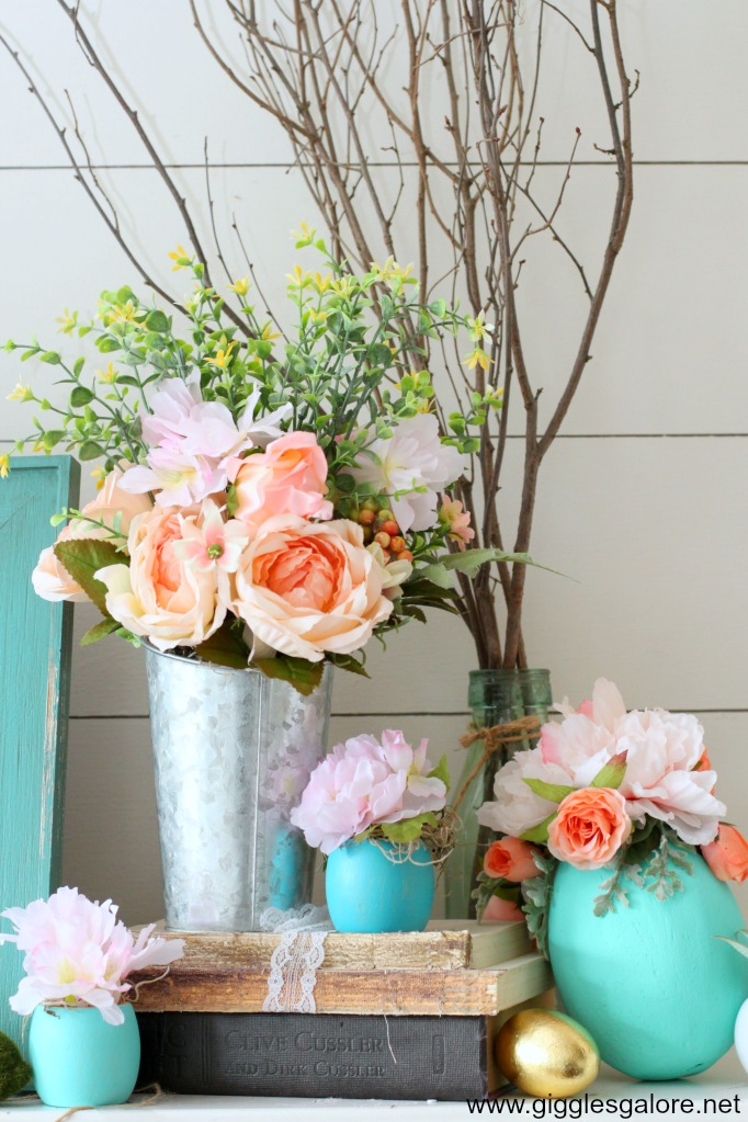 Spring flowers mantel decorations