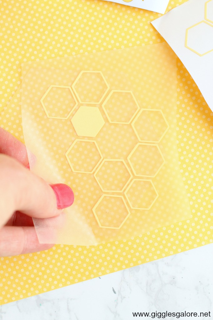 Bee hexagon coaster cricut vinyl