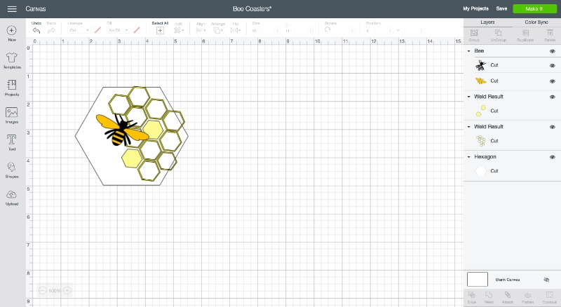 Diy hexagon bee coaster svg