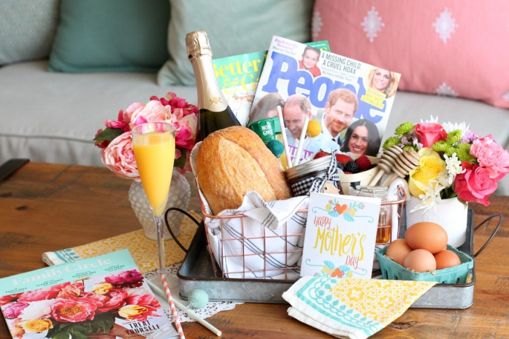 Magazines and breakfast in bed mothers day gift