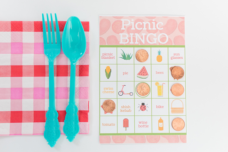 graphic regarding Printable Bingo Chips identified as Picnic Bingo Playing cards- With Cost-free Printable! - Giggles Galore