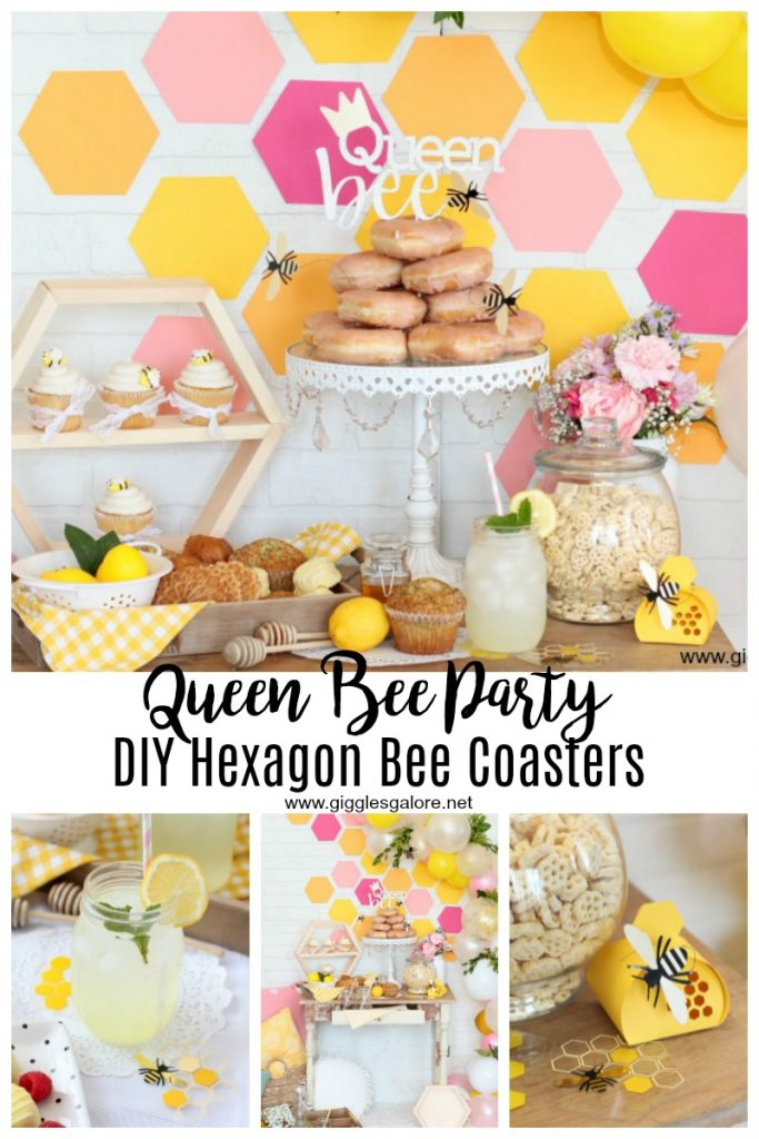 Queen bee party diy hexagon bee coasters