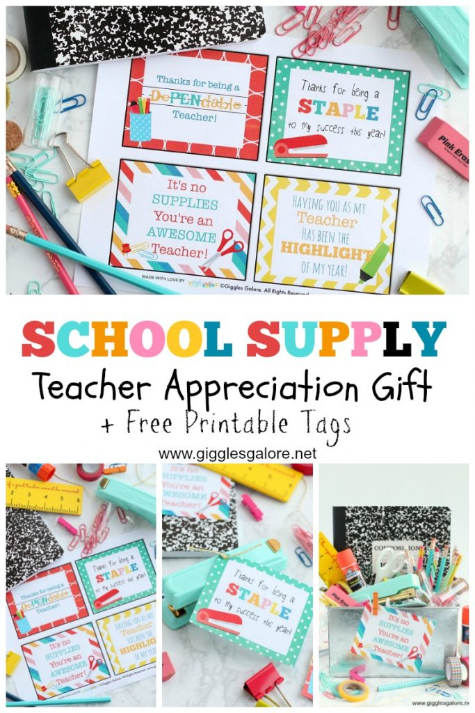 School supply teacher appreciation gift printable tags giggles galore