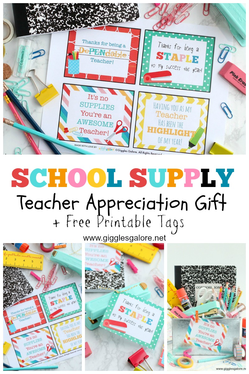 image about Free Printable Teacher Appreciation Tags known as Higher education Provide Trainer Appreciation Reward + Free of charge Printables