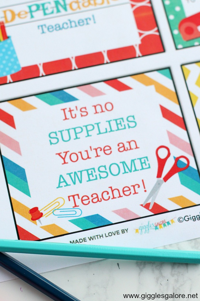 Teacher appreciation supplies gift tag printables