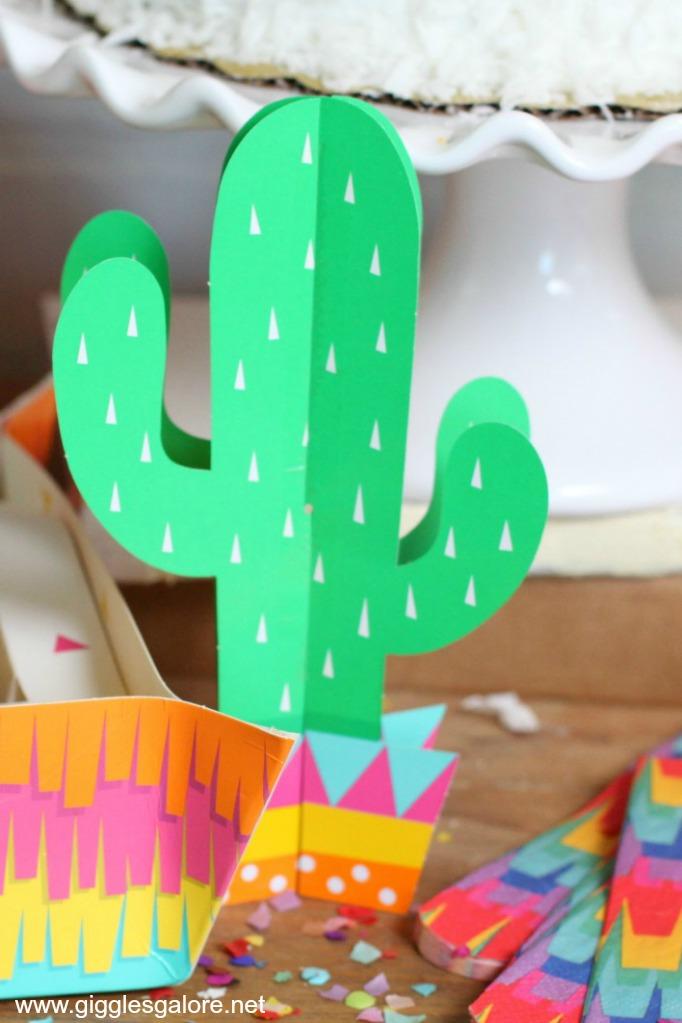 Colorful cactus fiesta decor