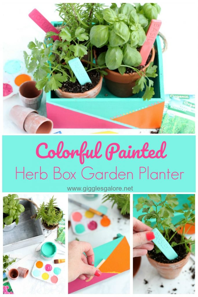 Colorful painted herb box garden planter giggles galore