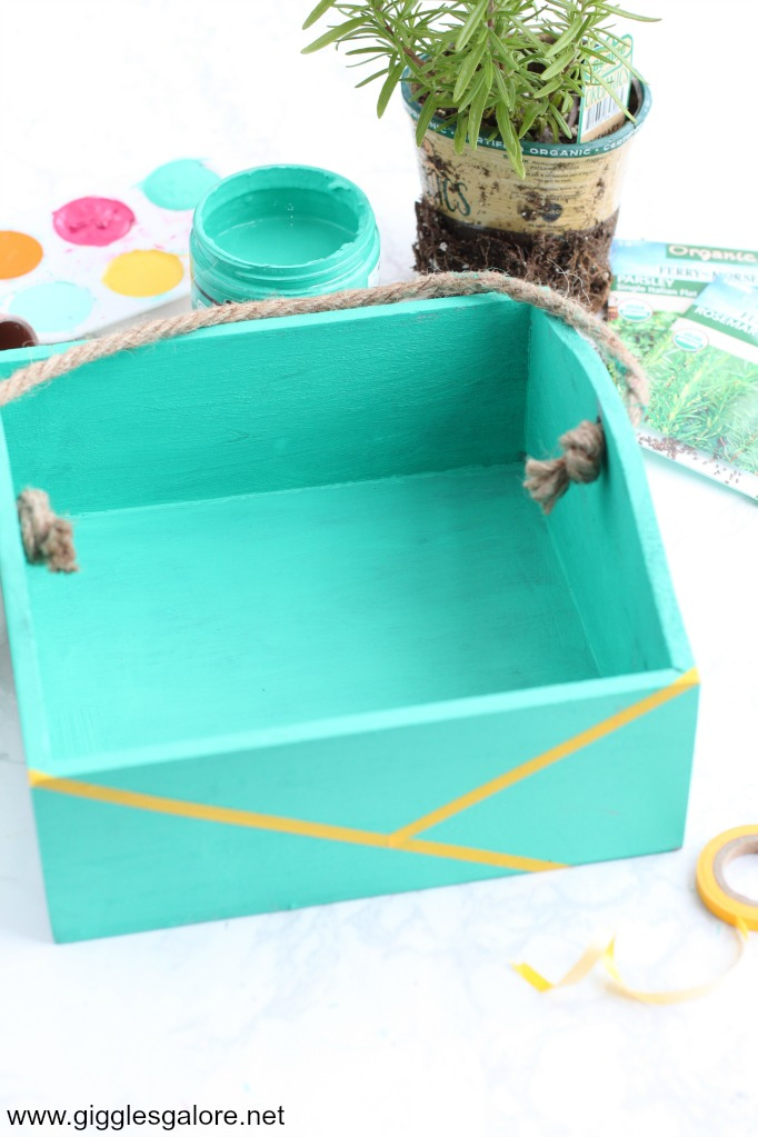 Painted herb garden box with washi tape