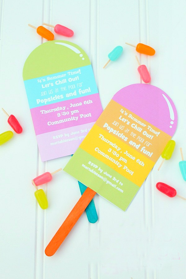 Popsicles pool party invitation