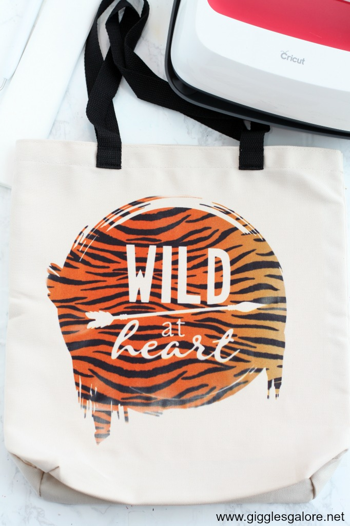 Cricut infusible ink wild at heart tote step 10