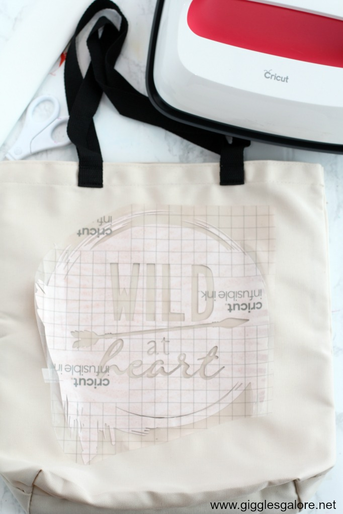 Cricut infusible ink wild at heart tote step 7