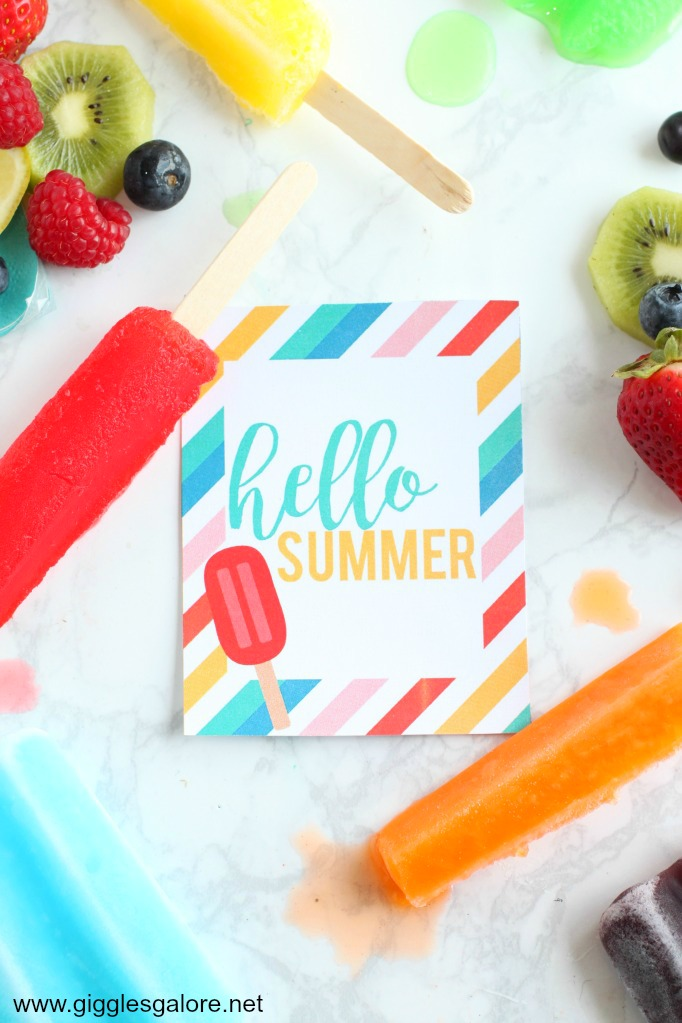 Hello summer popsicle printable