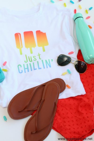 Just chillin popsicle shirt with cricut infusible ink