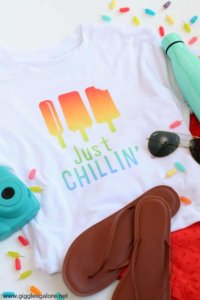 Just chillin popsicle shirt with cricut infusible ink project