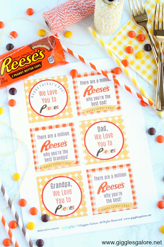 Reeses fathers day printable tags step 1