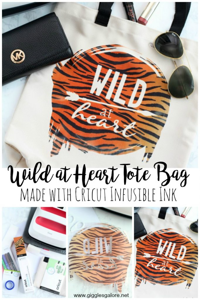 Wild at heart tote bag made with cricut infusible ink giggles galore