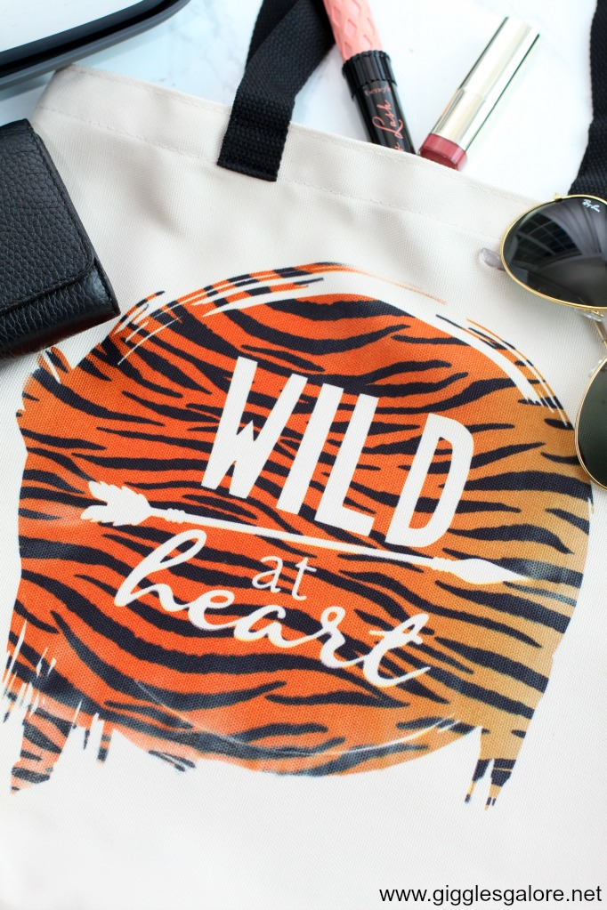 Wild at heart tote made with cricut infusible ink