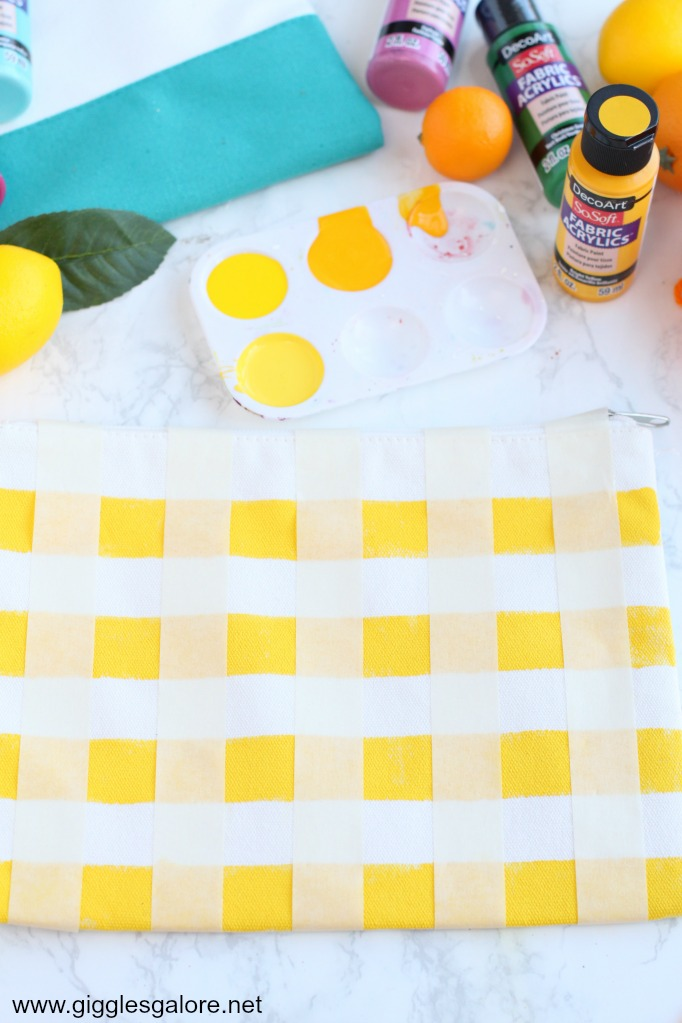 Diy gingham clutch with fabric paint step 3