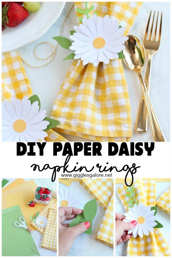 Diy paper daisy napkin rings with cricut maker