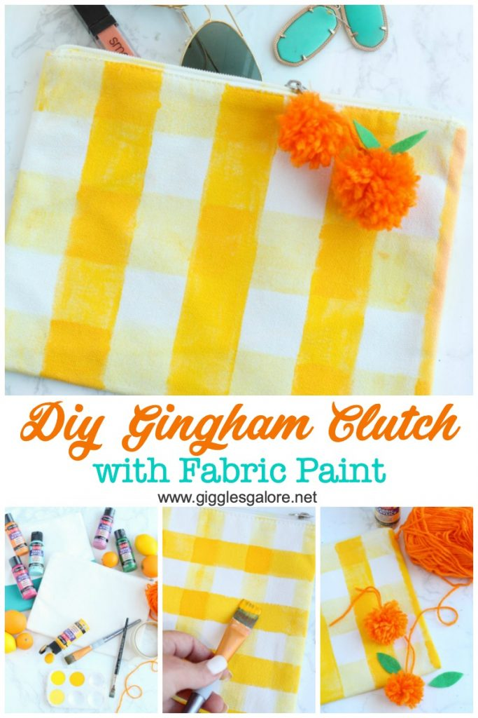 Diy yellow gingham clutch with fabric paint