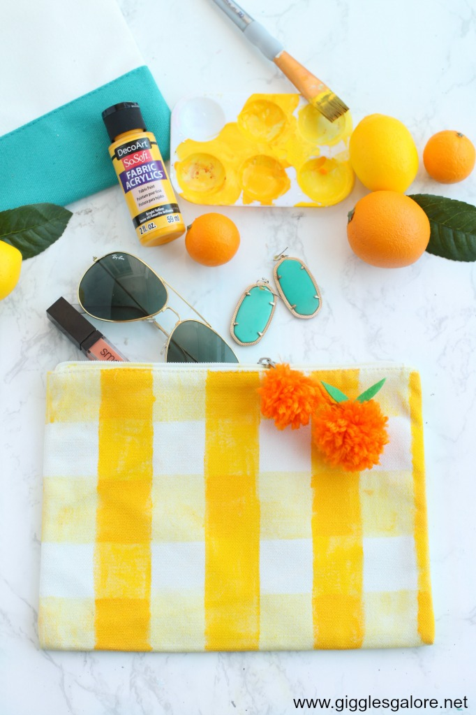 Diy yellow gingham clutch