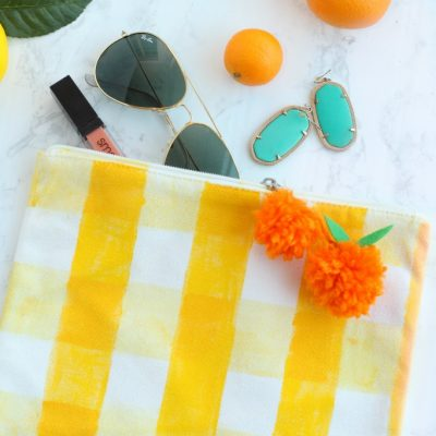 DIY Gingham Clutch with Fabric Paint