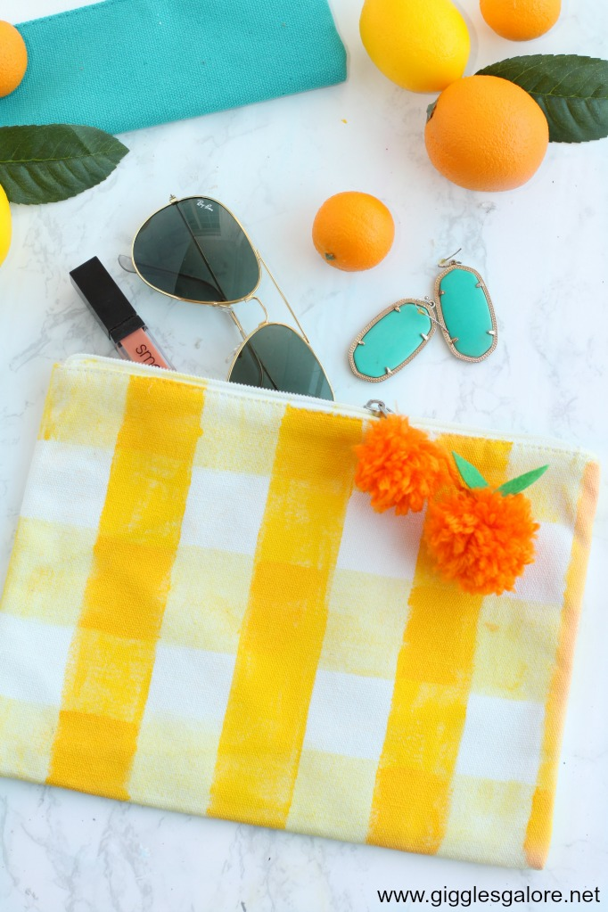 Diy yellow gingham summer clutch