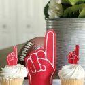 Diy foam finger decoration and cupcake toppers